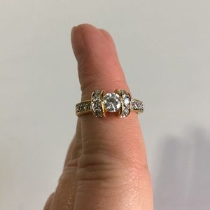 3 Carat Gold Diamonique CZ Ring - Size 7